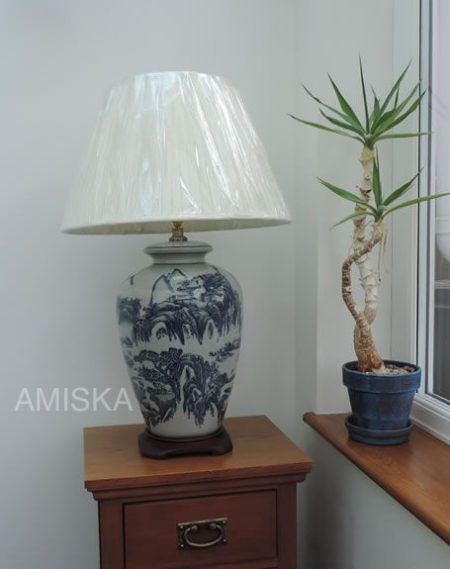 Vase Lamp In Blue And Light Stone