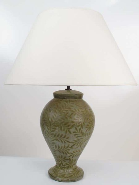 Ban Phe Pottery Table Lamp In Taupe