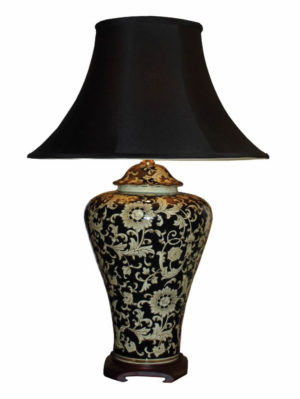 Chinese Porcelain Table Lamp with Flower Pattern