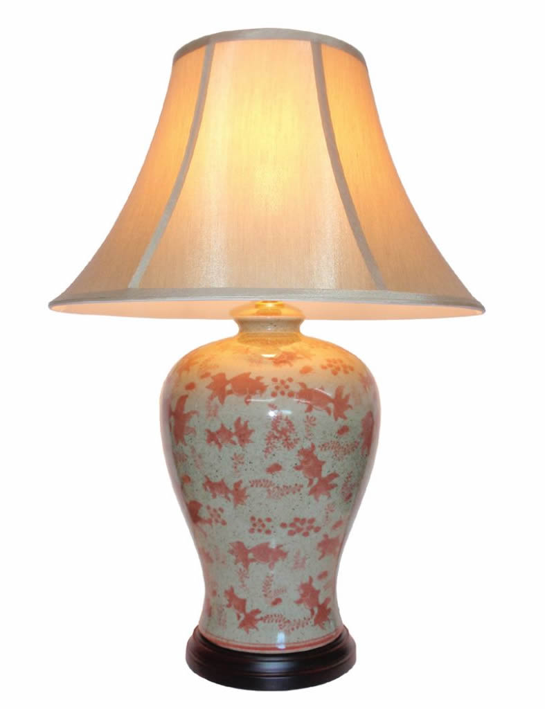 Oriental Porcelain Table Lamp Goldfish Theme