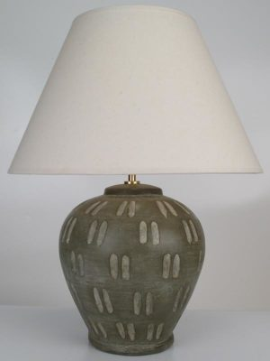 Dumpy Dimple Pottery Table Lamp in Taupe