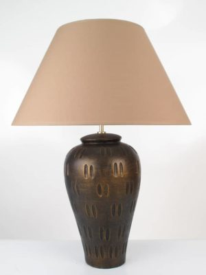 Tall Dimple Pottery Table Lamp Medium Bronze