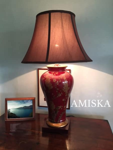 Red Chinese Porcelain Vase Lamp