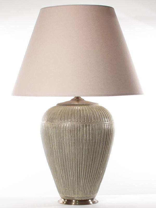 Large Line Pottery Table Lamp In Taupe