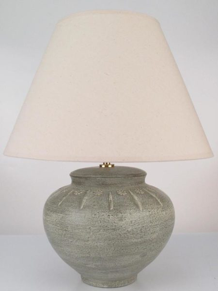 Isaan Pottery Table Lamp In Taupe