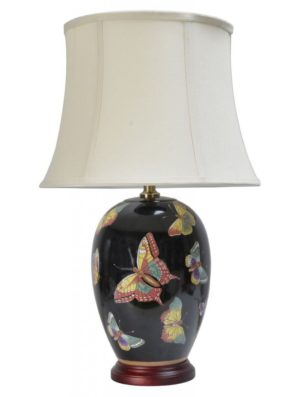 Chinese Porcelain Table Lamp With Butterflies