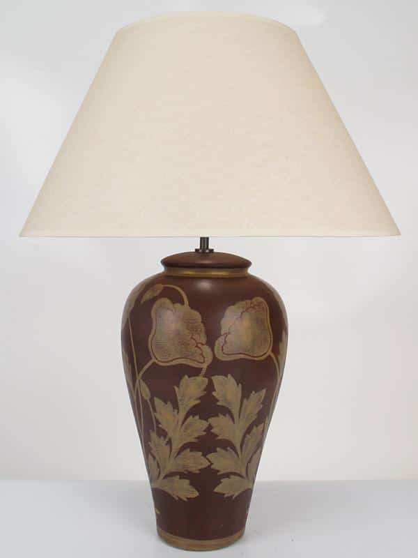 Large Poppy Pottery Lamp Burgundy & Gold