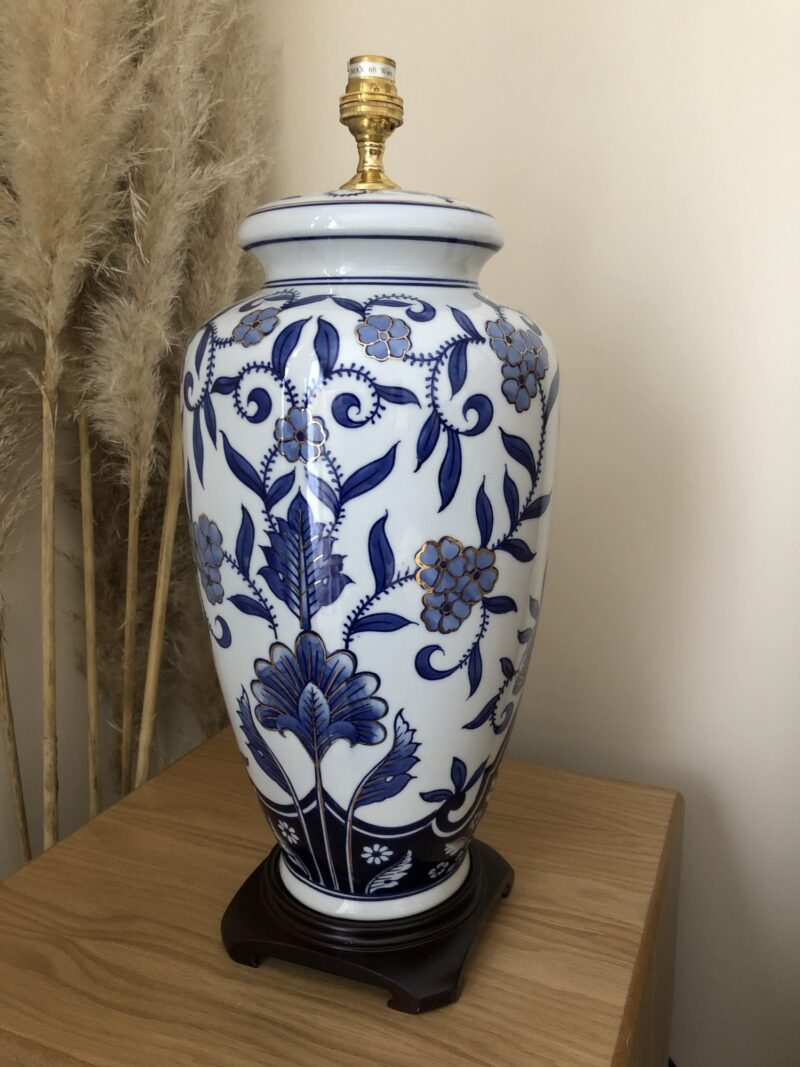Chinese Porcelain Table Lamp In Blue & Gold