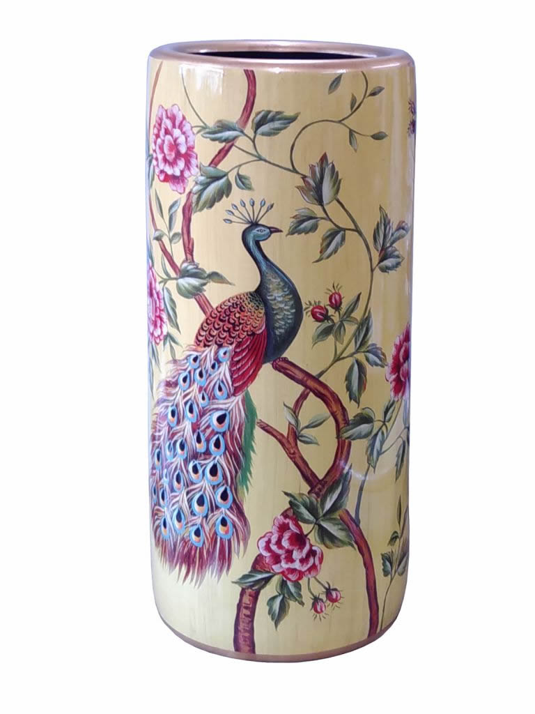 Chinese Porcelain Umbrella Or Stick Stand – Peacock Theme