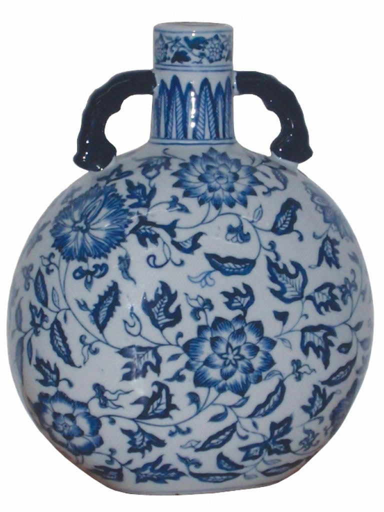 The Floral Chinese Porcelain Travellers Flask